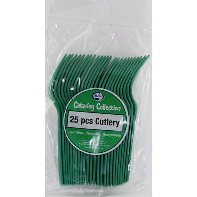 We Like To Party Plain Tableware Cutlery Forks Green