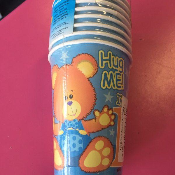 We Like To Party 1st Birthday Boy Teddy Bear Cups