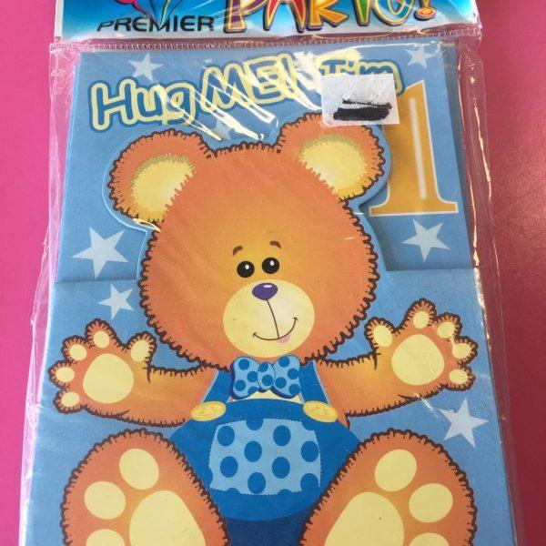 We Like To Party 1st Birthday Boy Teddy Bear Invitations