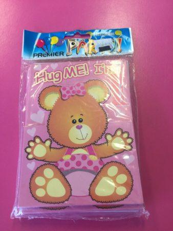 We Like To Party 1st Birthday Girl Teddy Bear Invitations & Envelopes