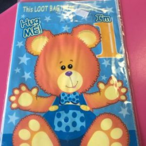 We Like To Party 1st Birthday Boy Teddy Bear Loot Bags