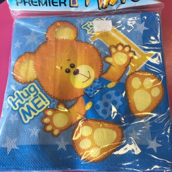 We Like To Party 1st Birthday Boy Teddy Bear Napkins
