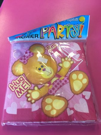 We Like To Party 1st Birthday Girl Teddy Bear Lunch Napkins