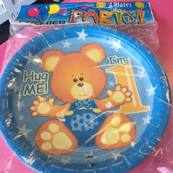 We Like To Party 1st Birthday Boy Teddy Bear Dinner Plates