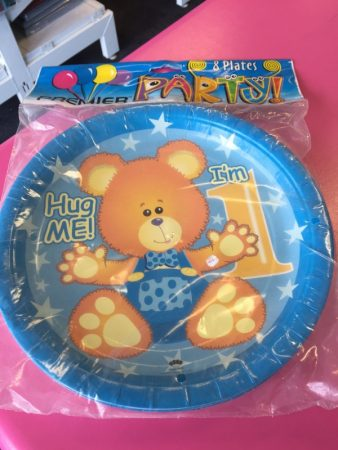We Like To Party 1st Birthday Boy Teddy Bear Dinner Plates