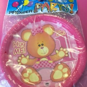 We Like To Party 1st Birthday Girl Teddy Bear Dinner Plates