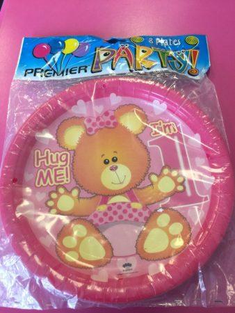 We Like To Party 1st Birthday Girl Teddy Bear Dinner Plates
