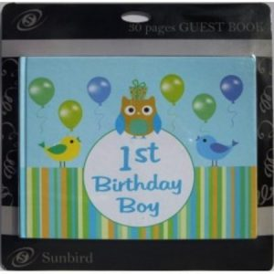 We Like To Party 1st Birthday Boy Guest Signing Book With Owls And Balloons