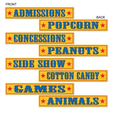 We Like To Party! Circus Theme Double Sided Cutout Signs 4pk