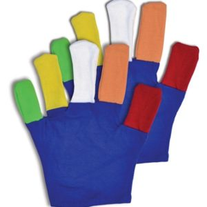 We Like To Party! blue coloured gloves with multi coloured fingers