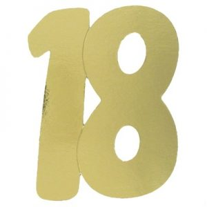 We Like To Party 18 Gold Large Double Sided Foil Number Cutout