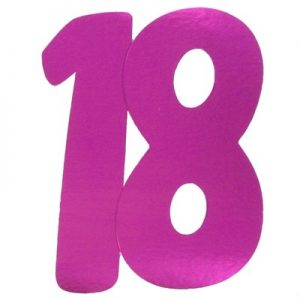 We Like To Party 18 Hot Pink Large Double Sided Foil Number Cutout