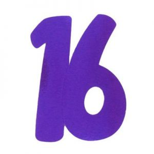 We Like To Party 16 Purple Large Double Sided Foil Number Cutout
