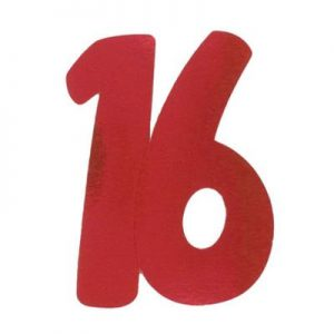 We Like To Party 16 Red Large Double Sided Foil Number Cutout