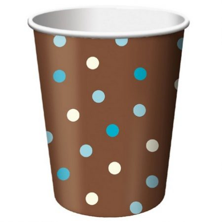 We Like To Party Blue & Ivory Dots on Chocolate Brown Background Paper Cups
