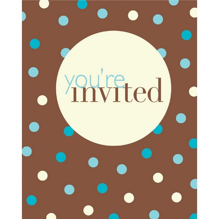We Like To Party Blue & Ivory Dots on Chocolate Brown Background Invitations & Envelopes