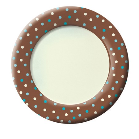 We Like To Party Blue & Ivory Dots on Chocolate Brown Background Dinner Plates