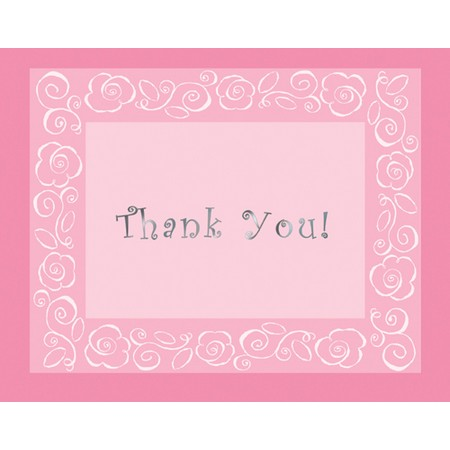 We Like To Party Bridal Bouquet Thank You Cards & Envelopes Pink And White