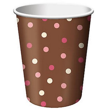 We Like To Party Brown Blush And Pink Dots Cups