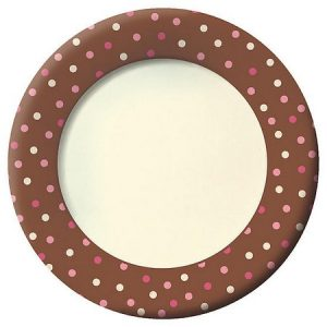 We Like To Party Brown Blush And Pink Dots Dinner Plates