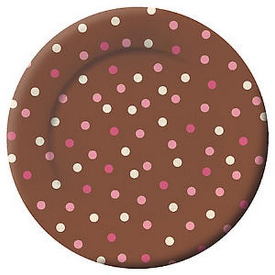 We Like To Party Brown Blush And Pink Dots Lunch Plates