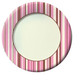 We Like To Party Pink Ivory Brown Stripes Round Paper Plates