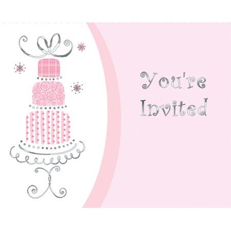 We Like To Party Bridal Bouquet Wedding Cake Bulk Invitations & Envelopes Pink Silver White