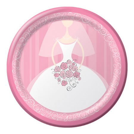 We Like To Party Bridal Bouquet White Bride Round Plates Pink And White