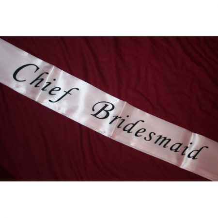 We Like To Party Chief Bridesmaid Pink Sash With Black Writing