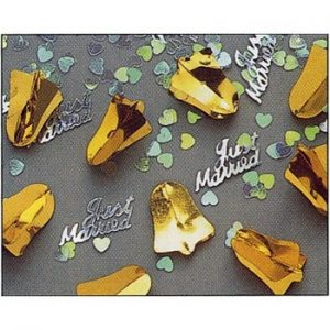We Like To Party 3D Gold Bell Just Married Table Confetti