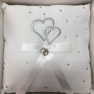 We Like To Party Ring Bearer Satin White Pillow