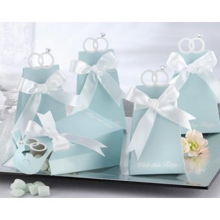 We Like To Party Aqua Wedge Shaped Favour Box With Die-Cut Wedding Rings