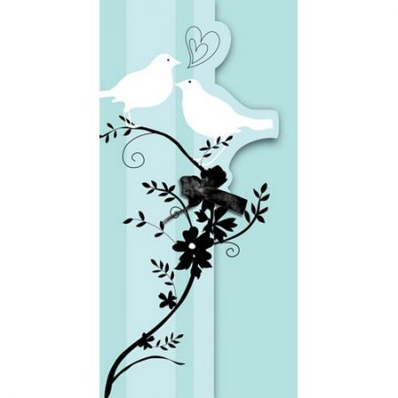 We Like To Party Two Love Birds Bridal Shower Folded Invitations & Envelopes Pastel Green Black & White