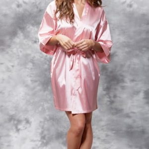 We Like To Party Pink Satin Women Short Robe