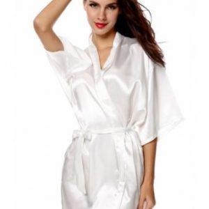 We Like To Party White Satin Women Short Robe