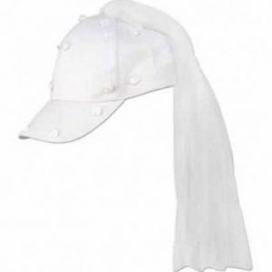 We Like To Party White Cap With Veil