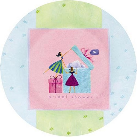 We Like To Party Pastel Colours With Bride Opening Presents Bridal Shower Dinner Plates