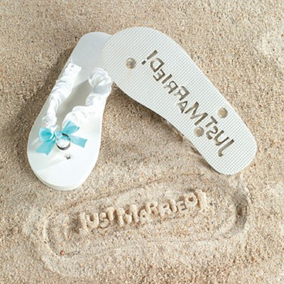 We Like To Party Just Married Thongs & Silver Rings Trim