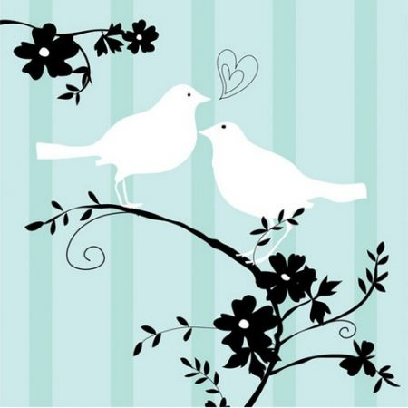 We Like To Party Two Love Birds Bridal Shower Beverage Napkins Pastel Green Black & White
