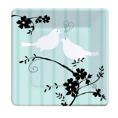 We Like To Party Two Love Birds Bridal Shower Square Plates Pastel Green Black & White