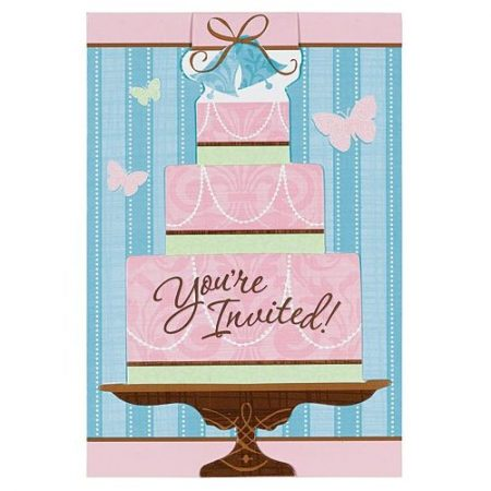 We Like To Party Something Blue Invitations & Envelopes Pink Tiered Cake