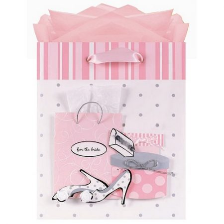 We Like To Party Bride To Be Gift Bag With Wedding Symbols Cutouts, Tulle And Ribbons