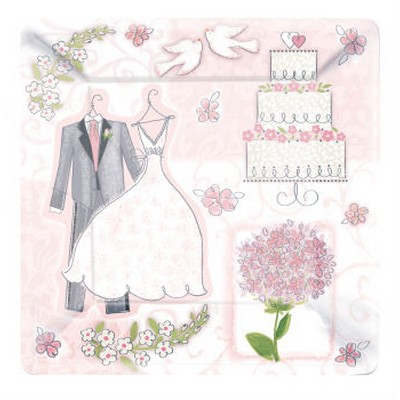 We Like To Party Sweet Romance Square Plates Wedding Anniversary Bridal Shower Dress Cake Party