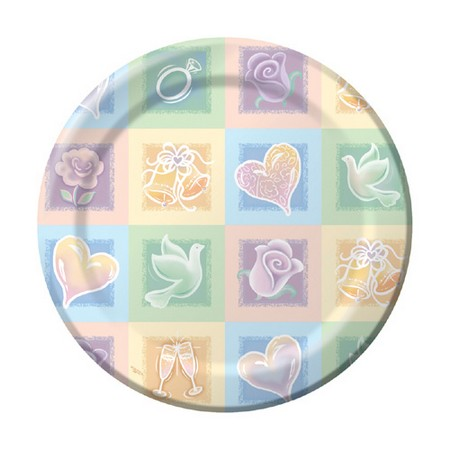 We Like To Party Symbols Of Love Bridal Shower Dinner Plates Hearts Roses Bells Doves