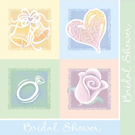 We Like To Party Symbols Of Love Bridal Shower Napkins Heart Bells Rings Roses