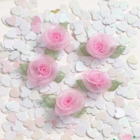 We Like To Party Pink Roses And White Hearts Table Confetti