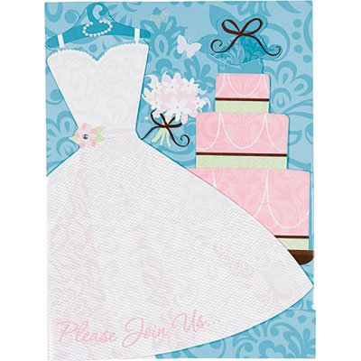 We Like To Party Jumbo Size Something Blue Invitations & Envelopes White Dress Pink Cake