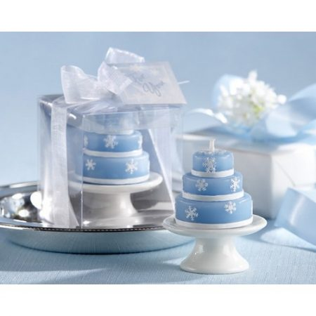 We Like To Party Blue & White Tiered Cake Candle Favour Gift