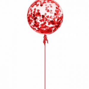 We Like To Party Red Heart Confetti Balloon