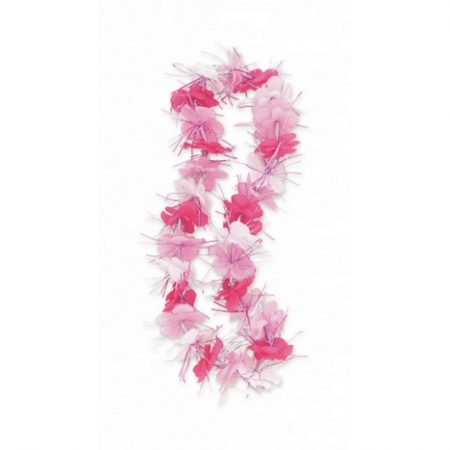 We Like To Party Fabric Dazzle Pink And White Hawaiian Lei